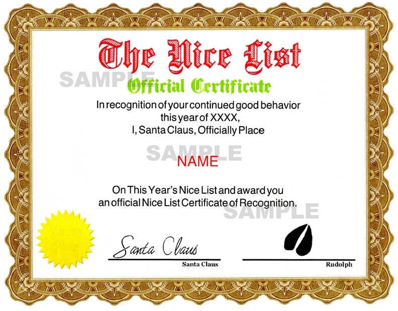 Nice Certificate - Red / Green