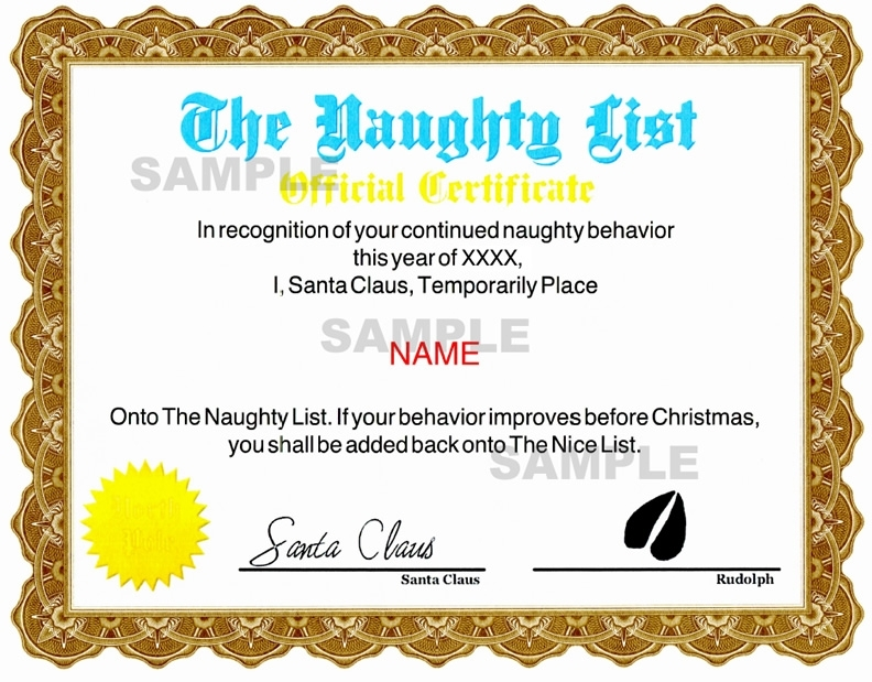 Naughty Certificate - Blue / Gold