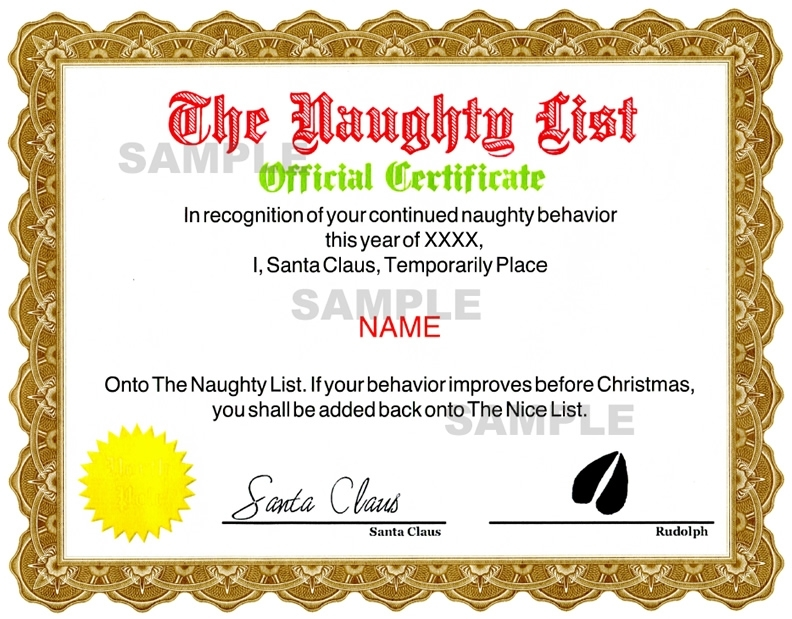 Naughty Certificate - Red / Green
