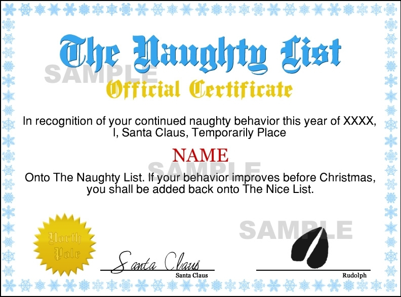 Instant Naughty Certificate - Blue / Gold